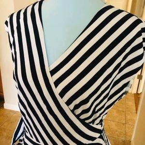NWT LOFT wrap stripe top blouse S